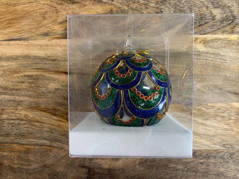 Christmas Mermaid Scale Ornate Glass Bauble