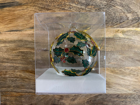Christmas Little Holly Ornate Glass Bauble