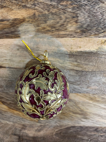 Christmas Gold and Burgundy Ornate Bauble