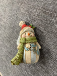 Mini Snowman Green Scarf - Jim Shore Decoration