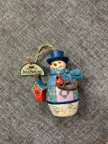 Snowman with Bird House - Jim Shore Hanging Decoration