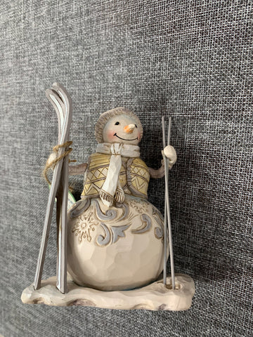 Snowman with Skies - Jim Shore Decoration