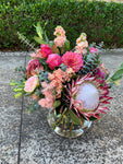 Pretty Pinks Round Clear Vase