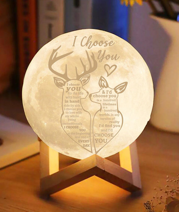 Deer Couple I Choose You Moon lamp