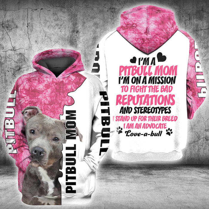 I'm a pitbull mom custom name 3D All Over Printed Hoodie/ Zip Hoodie Size S - 5XL