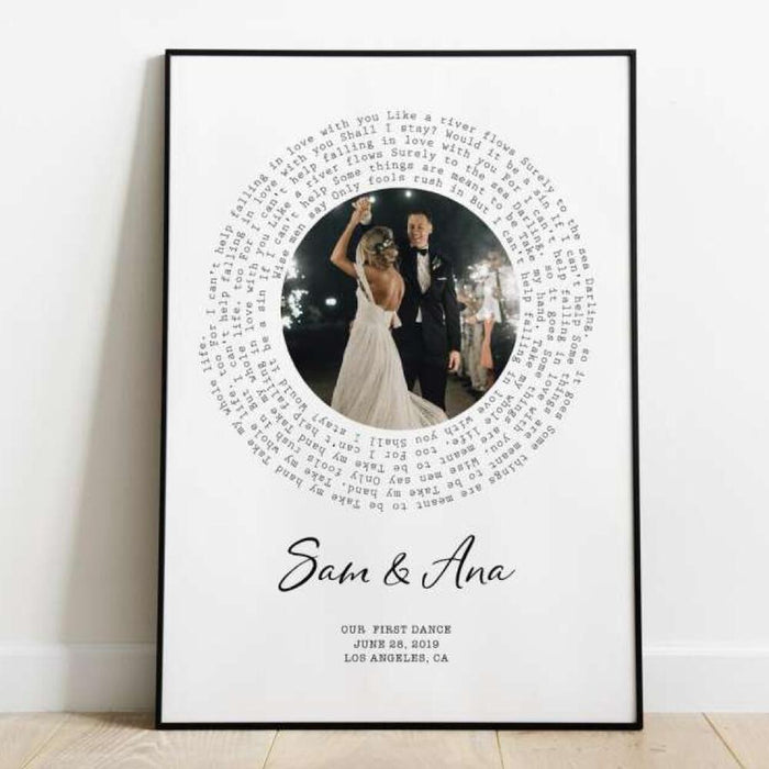 Personalized Vinyl Photo Song Lyrics Wall Art
