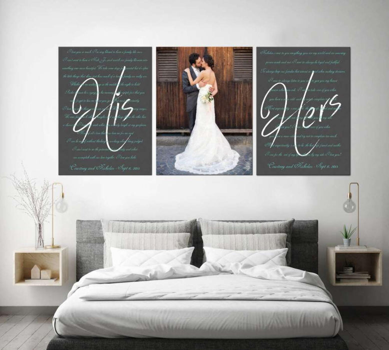 Personalized Wedding Vows Set of 3 Canvas Wall Art Poster