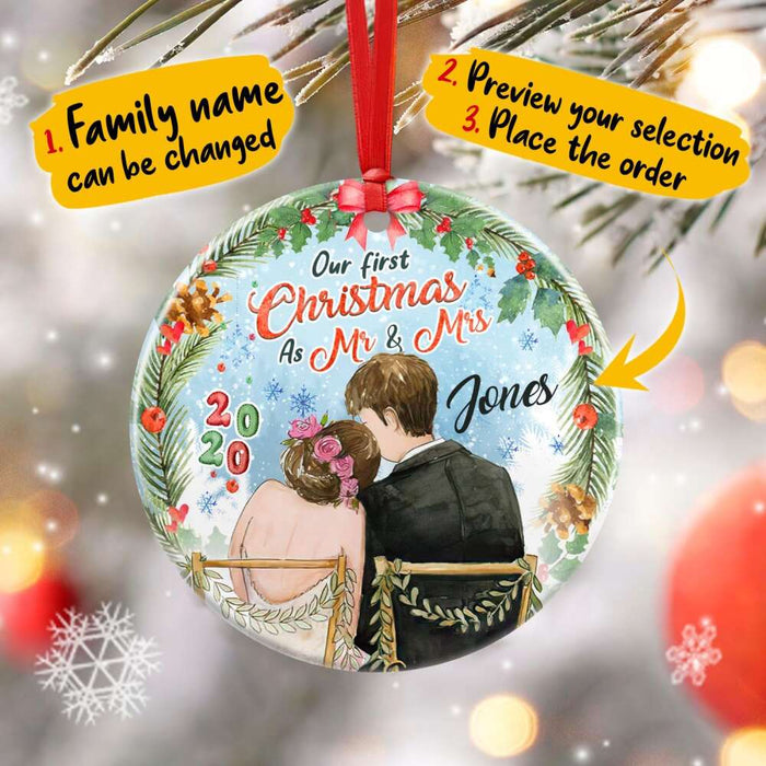 Custom Our first Christmas as Mr & Mrs Circle Ornament