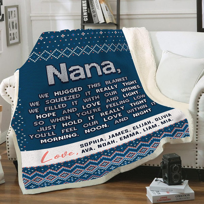 Grandma You'll Feel Our Love Within This Ugly Pillow Custom Name Cozy Fleece Blanket