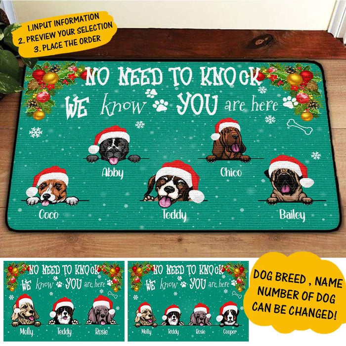 Custom Christmas Doormat No need to knock We know you are here