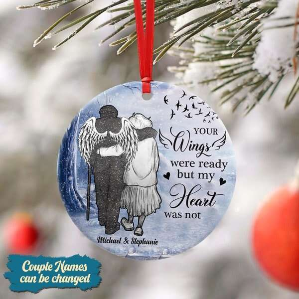 Custom Couple your wings were ready Circle Ornament