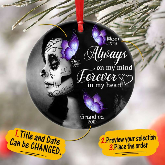 Custom Always On My mind, Forever In My Heart Circle Ornament