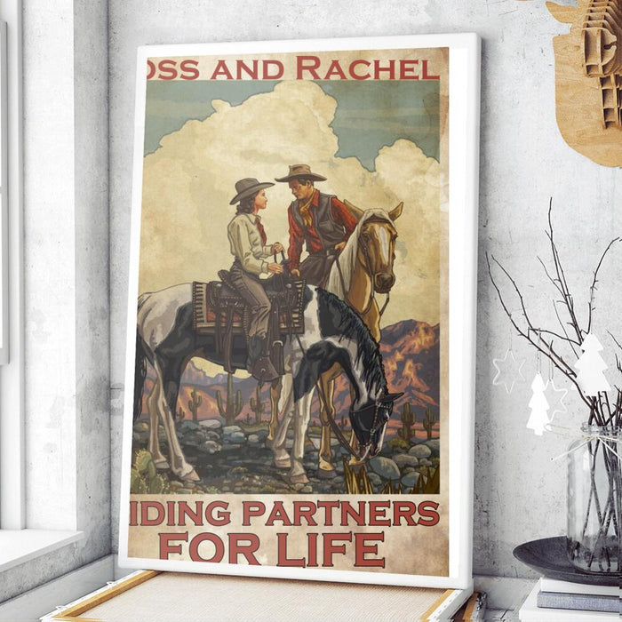 Custom Horse Riding Partners For Life Wall Art Print Poster