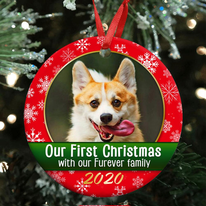 Custom 1st christmas with furever family Circle Ornament