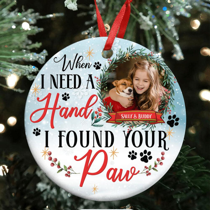 Custom I Found Your Paw Circle Ornament