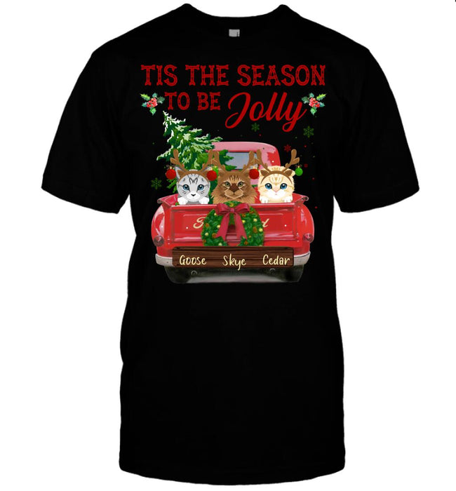 Custom Christmas shirt Tis the season to be Jolly Front Printed T-Shirt