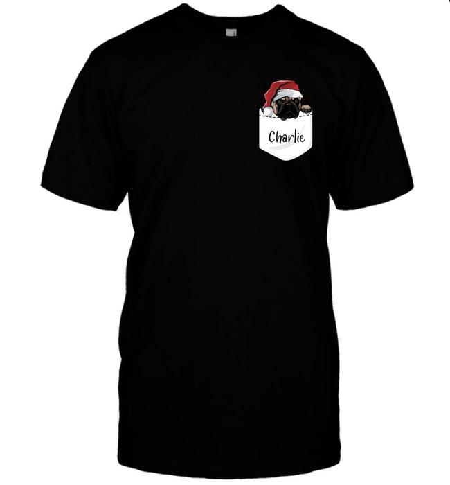 Custom dog pocket shirt Front Printed T-Shirt
