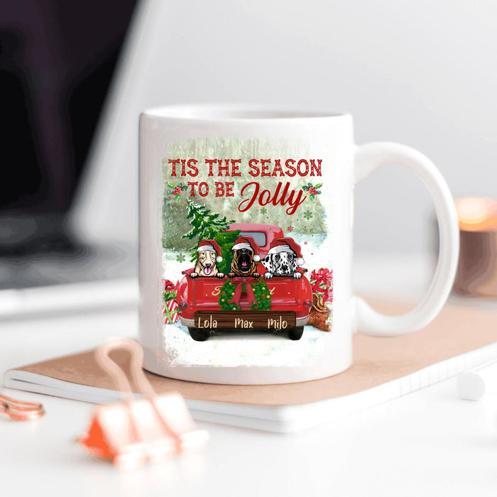 Custom Christmas pillow Tis the season to be Jolly Ceramic Mug 11Oz, 15Oz