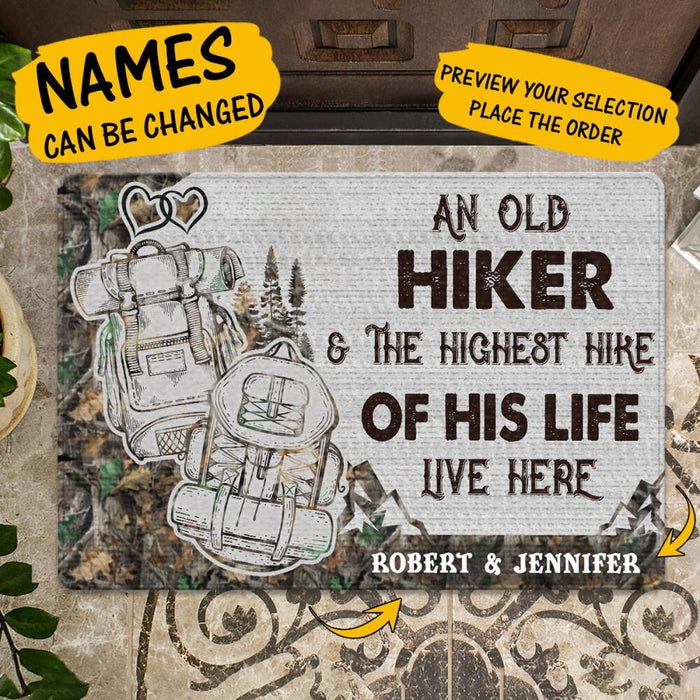 Custom An Old Hiker And The Highest Hike Of His Life Doormat
