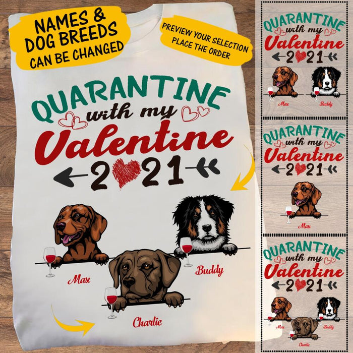 Custom Quarantine With My Valentine 2021 Front Printed T-Shirt