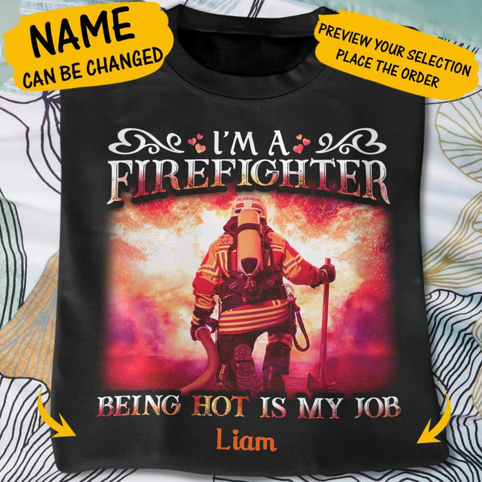 Custom A Very Hot Firefighter Stole My Heart Front Printed T-Shirt