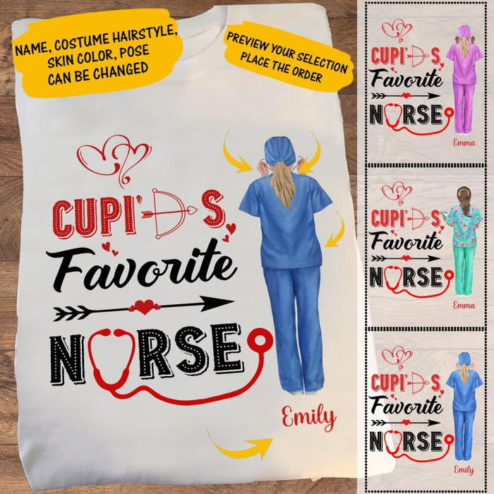 Custom Cupid's Favorite Nurse Front Printed T-Shirt