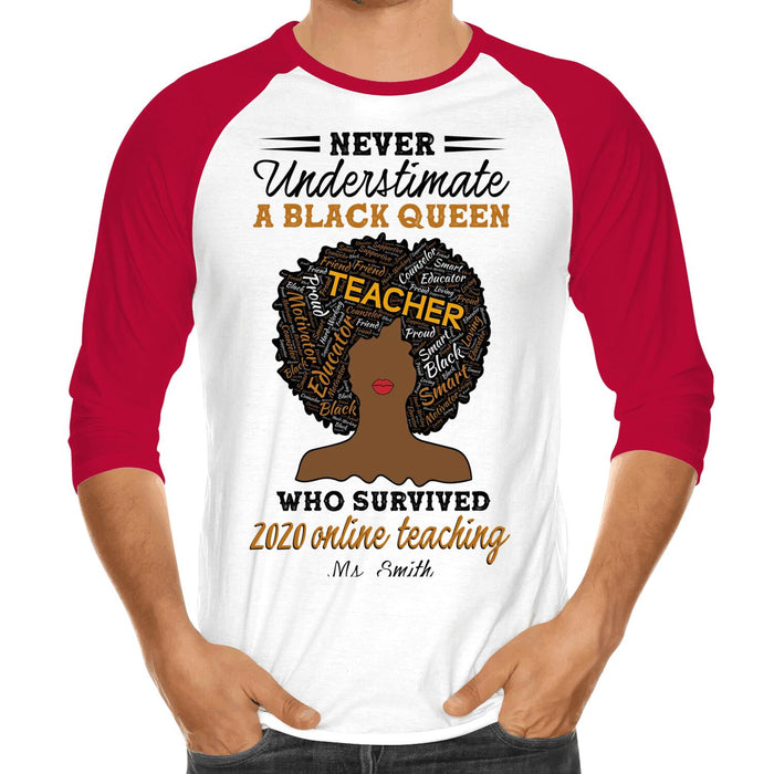 Custom Never Understimate A Black Queen Front Printed T-Shirt