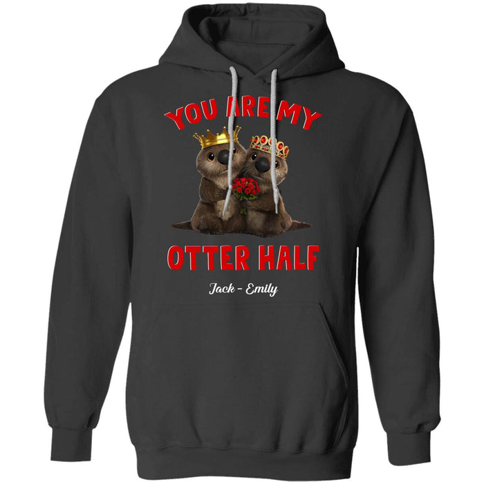 Custom Valentine You Are My Otter Half Front Printed T-Shirt