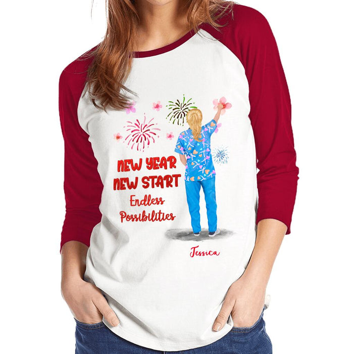 Custom Nurse New Year New Start Endless Possibilities Front Printed T-Shirt