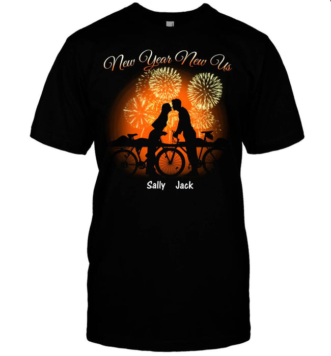 Custom Cycling New Year New Us Front Printed T-Shirt