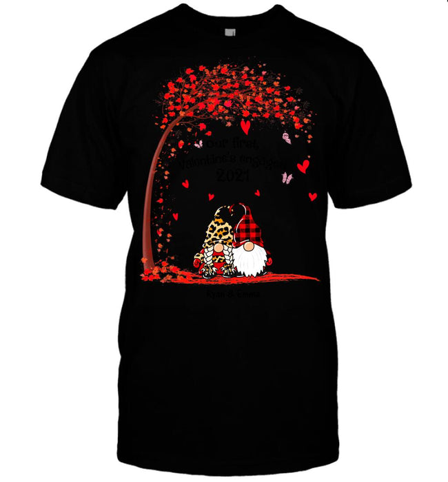 Custom Gnome Our First Valentine's Engaged Front Printed T-Shirt