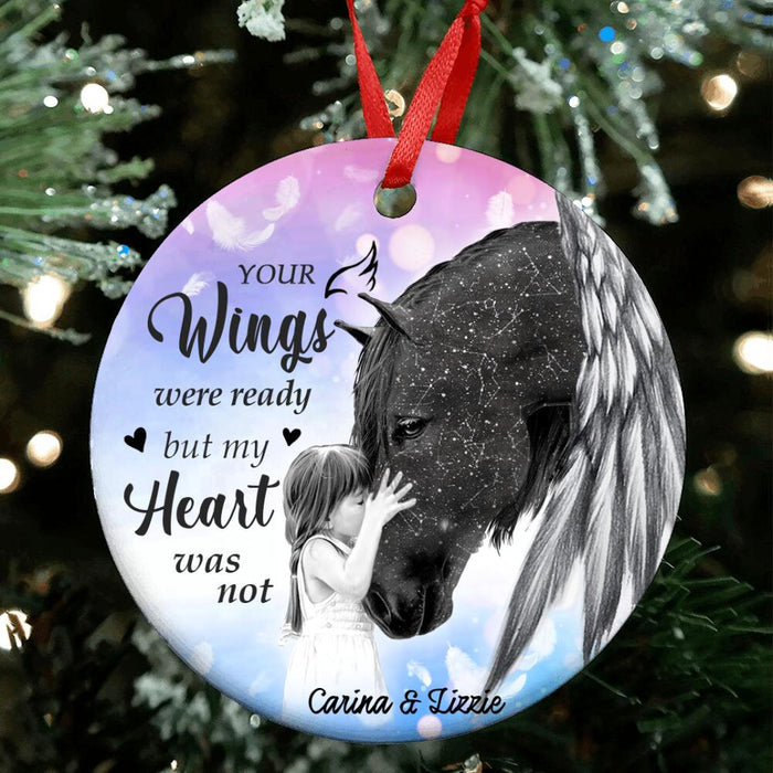 Custom Horse Your Wings Were Ready Circle Ornament