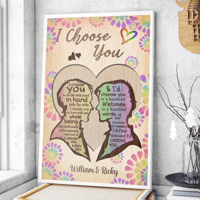 Custom I Choose You LGBT Couple Vertical Poster