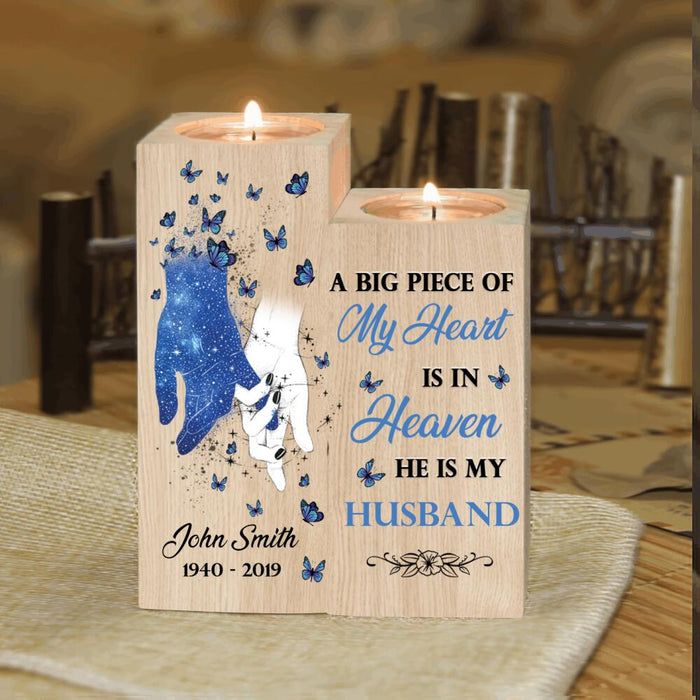 Custom A big piece of my heart is in heaven Candle Holder