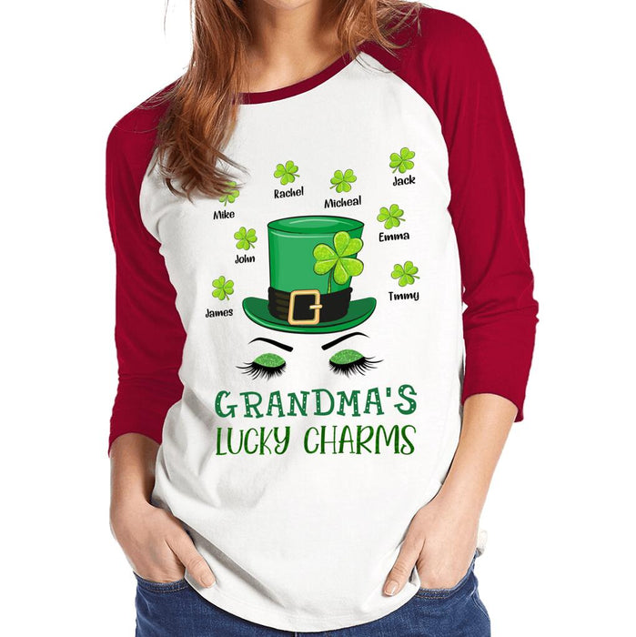 Custom Grandma's Lucky Charms Front Printed T-Shirt