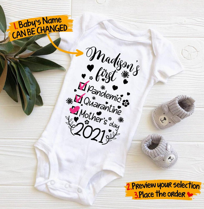 Custom My first pandemic quarantine mother's day 2021 Baby Onesie