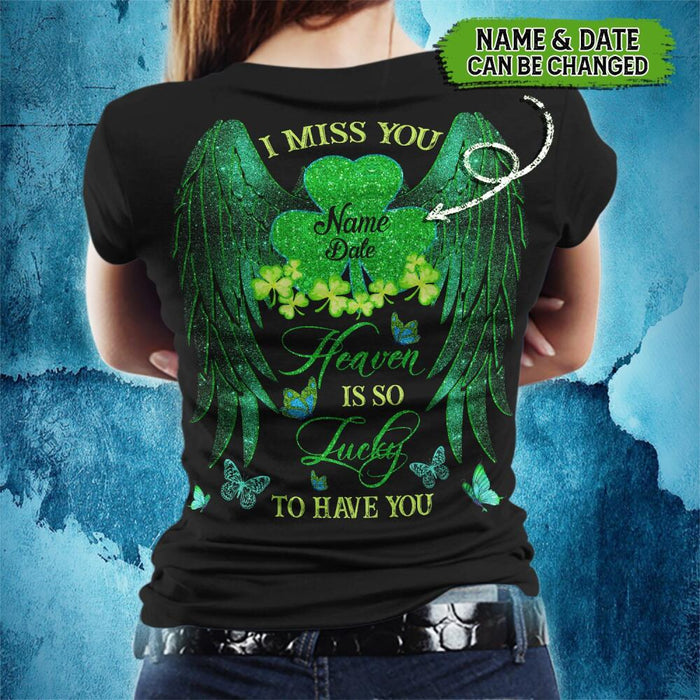 Custom Heaven Is So Lucky To Have You Back Printed T-shirt