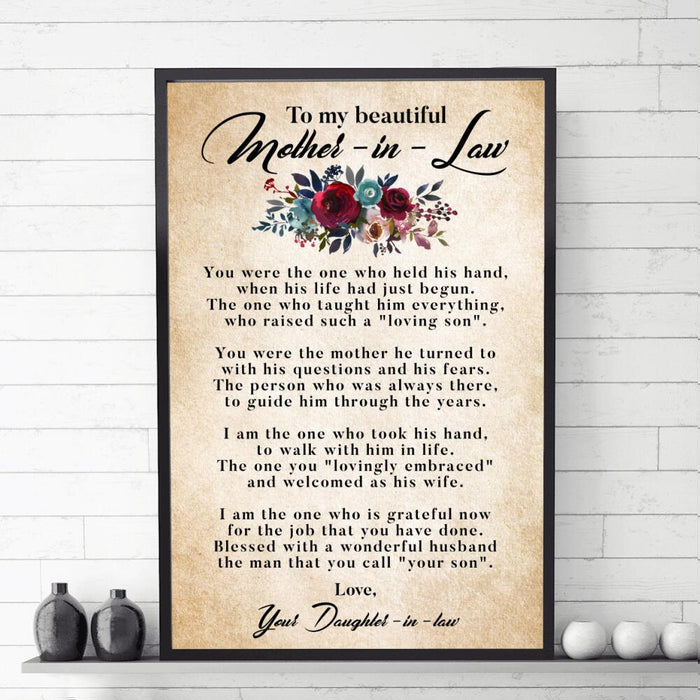 Custom My Beautiful Mother-In-Law Mother's Day Vertical Poster