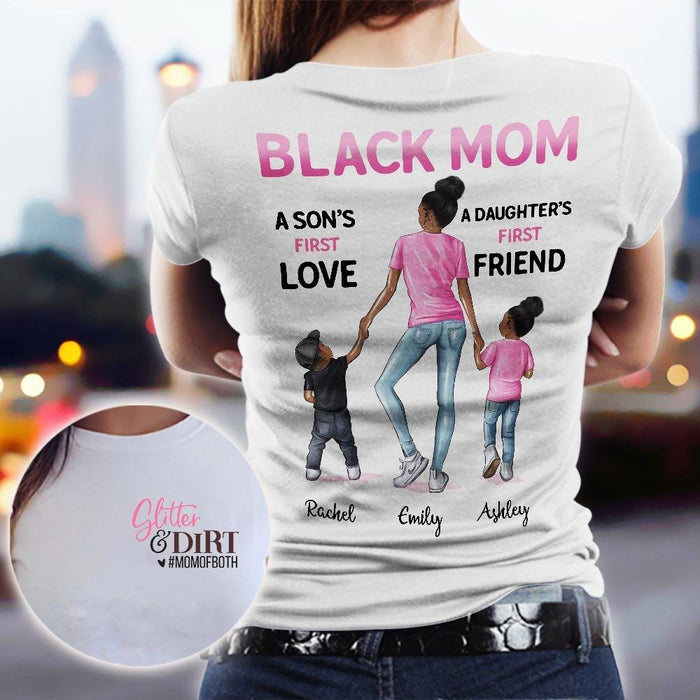 Custom Glitter & Dirt Mom Of Both Two Sided T-Shirt