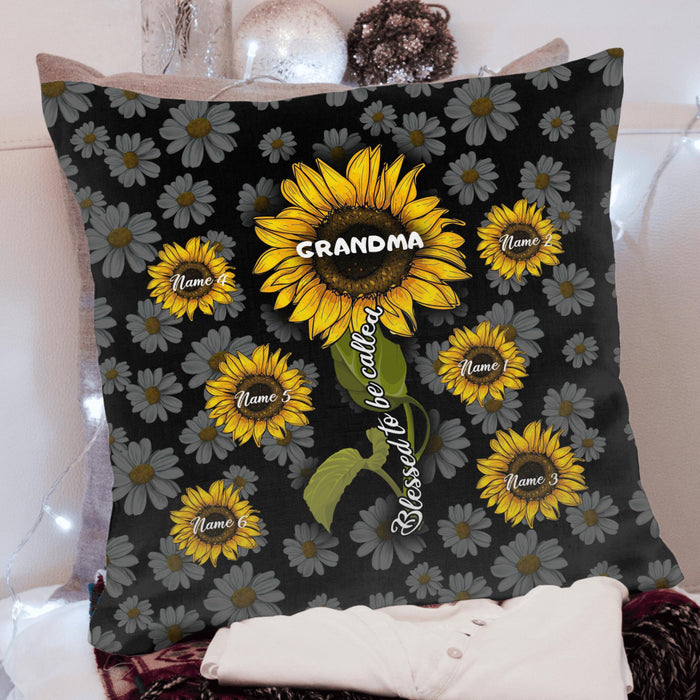 Custom Sunflower Blessed To Be Called Grandma Square Pillow Case