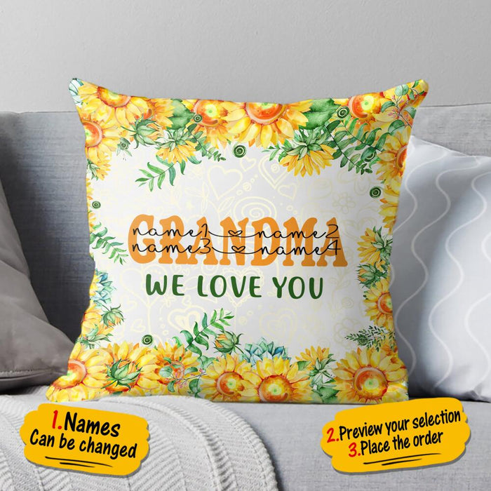 Custom Sunflower Grandma We Love You Square Pillow Case