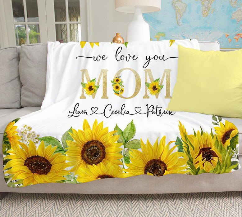 Sunflower Blanket For Mom Custom Name Cozy Fleece Blanket
