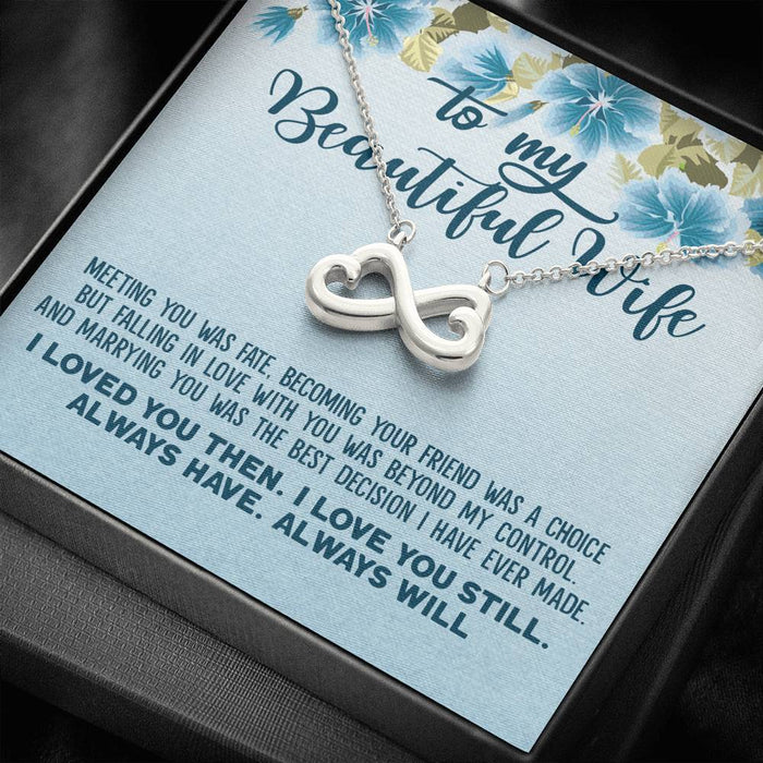 To My Beautiful Wife - Meeting You Was Fate Infinity Heart Pendant