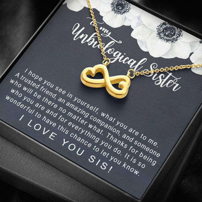 Unbiological Sister Best Friend Friends Forever Gift Infinity Heart Pendant
