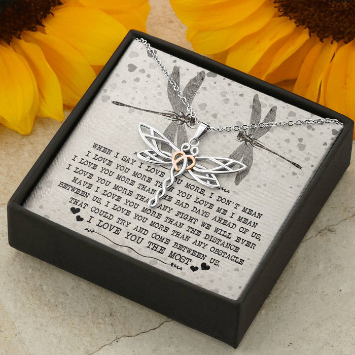 I Love You The Most Dragonfly Pendant