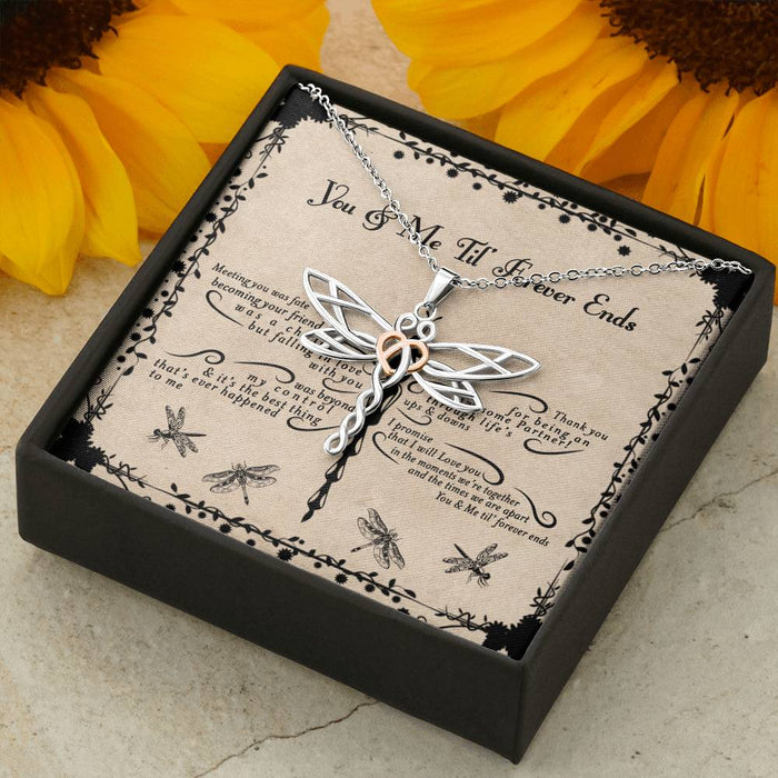 Family Dragonfly You And Me Till Forever Ends Pendant
