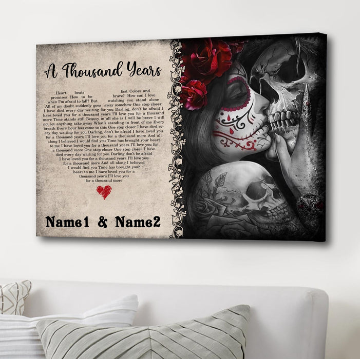 Custom Song Lyrics Skull Couple Canvas Wall Art