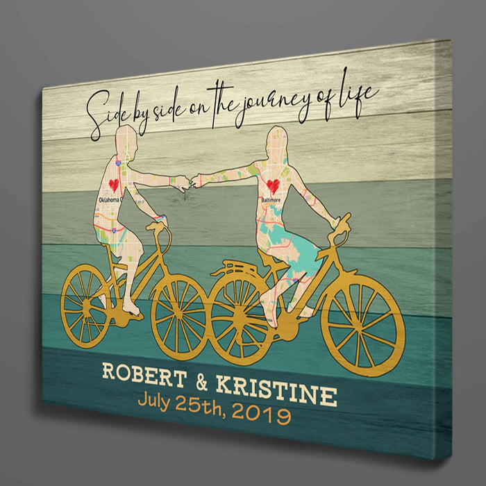Custom Map Cycling Couple Canvas Wall Art