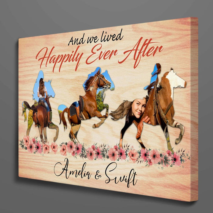 Custom Photo Horse And We Lived Happily Ever After Canvas Wall Art
