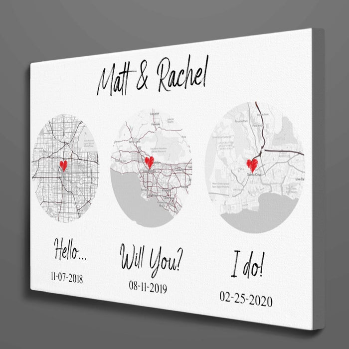 Custom map Hello - Will you - I do Canvas Wall Art
